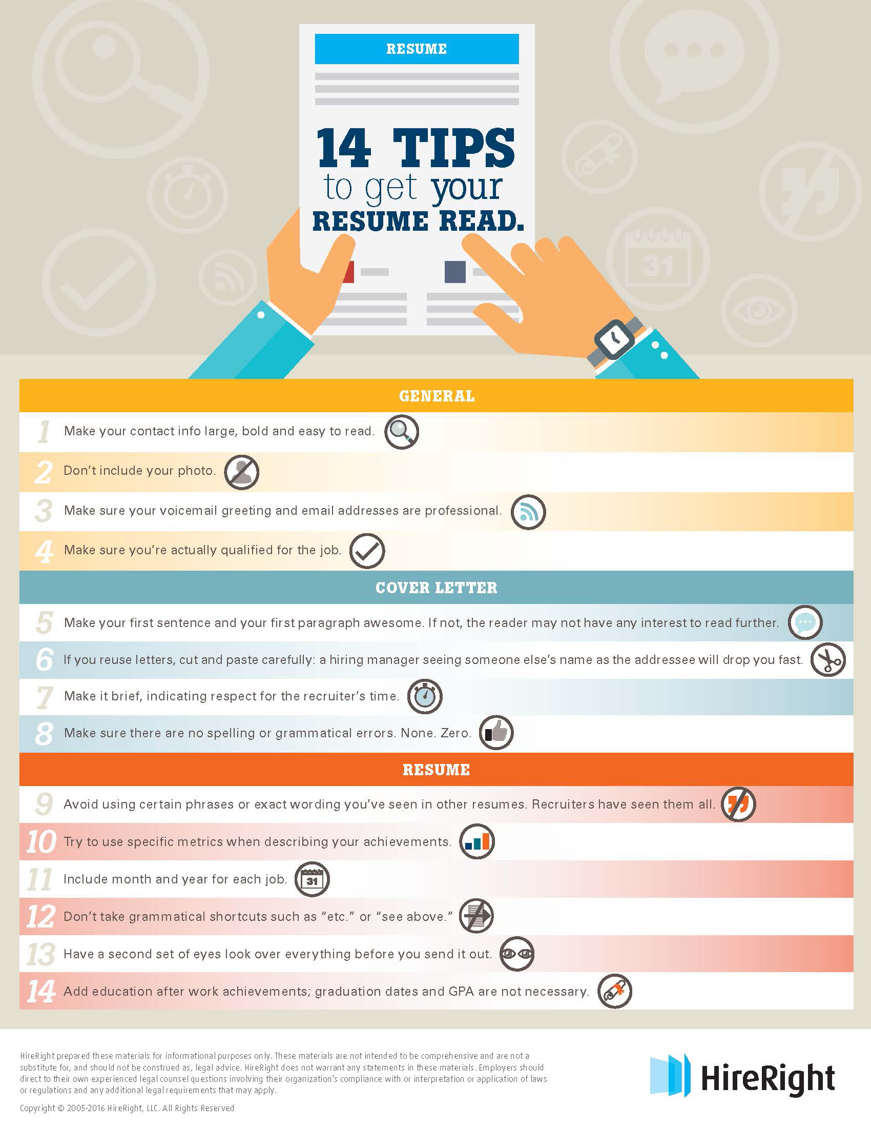 resume How Recruiters Read Resumes 14 tips to help get your resume read hireright by humans infographic hi res