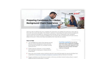 Tip Sheet: How to Improve the Background Check Experience for the Candidate